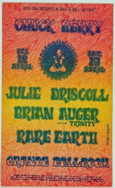 Psychedelic Art Exchange | Concert Poster Store — Chuck Berry, Grande Ballroom *Near Mint 89*