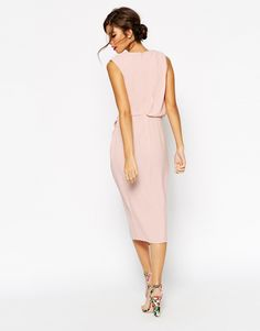 Image 2 of ASOS WEDDING Wrap Drape Midi Dress