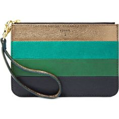 Fossil Wristlet, Small Leather Patchwork Zip Pouch (2.310 RUB) ❤ liked on Polyvore featuring bags, handbags, clutches, wallets, green multi, green leather handbag, fossil purses, vintage handbags, wristlet clutches and fossil wristlet