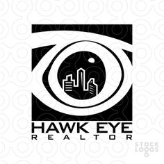 abstract and creative design logo of a buildings and apartments in the eye of the hawk bird using the negative space design concept, simple and professional design in black color only.