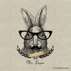 Mr Lapin  Instant Download Digital Image No.376 Iron-On Transfer to Fabric (burlap, linen) Paper Prints (cards, tags)
