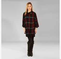 Cape, Wool Cape, Tweed Cape, Irish Tweed, Irish Wool Cape, Wool Shawl, Tweed Shawl, Cape Coat, Irish Made - Black Plaid with Green & Red Wool Cape, Cape Coat, Check Fabric, Capes For Women, Black Plaid, Red Green, Jeans And Boots, Tweed, Shawl