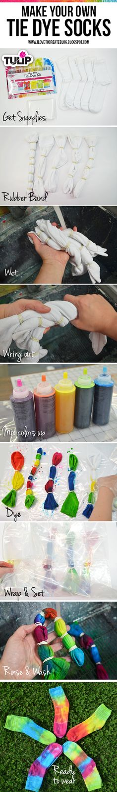 YOUR KIDS WILL GO CRAZY OVER THIS!!! Make your own tie dye socks with Tulip One-Step Tie-Dye!