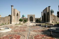 Samarkand in present day Uzbekistan was the most notable of the silk road hubs. Ap World History, Silk Road, Central Asia, Present Day, Art And Architecture, Around The Worlds, Mansions, City, Travel
