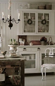 White Shabby Chic Kitchen.