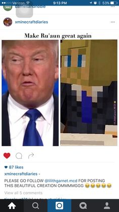 (OMG XD Aphmau ur perfect I'm voting Garte Ro'meave) ...REALLY?! The Father of Ro'meave character was familiar with TRUMP!