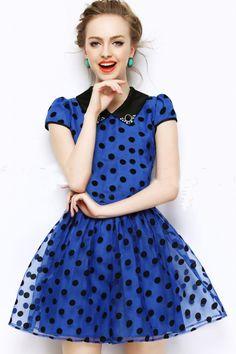 Morpheus Boutique  - Blue Gauze Dtos Cap Sleeve Hem Pleated Dress