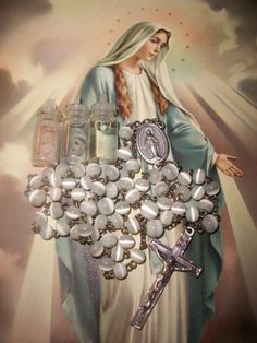 Our Lady's Rosary  Free Rare Sancta Camisia Relic  by ROSECROIX, $33.00