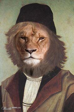 Abthropomorphic lion portrait Animal Renaissance 10 - Worth1000 Contests