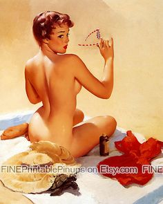 pinup pin up vintage classic old retro illustration drawing painting poster girl woman beautiful pretty sexy naked nude beach summer towel sun hat bathing suit turtle tanning sun glasses sand red vargas elvgren art artist hair dress 50s 40s 30s 20s 60s 70s 1920 1930 1940 1950 1960 1970 300dpi printable quality public domain creative commons free FINEPrintablePinups