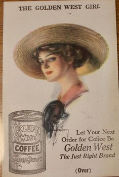 Pretty Cowgirl on signed Golden West Coffee Vintage tradecard C1890 ~Very Fine by JerryBurton on Etsy