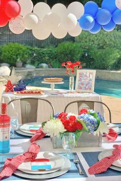 Take a look at this fab July 4th party! The table settings are wonderful! See more party ideas and share yours at CatchMyParty.com