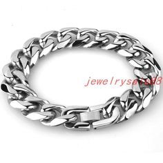 Fashion Stainless Steel Cuban Chain Bracelet 15Mm Silver Tone Mens Jewelry 7-11""