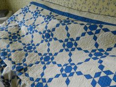 Blue and White antique quilt.  Pattern name-Ozark Diamonds.  Early 1930's