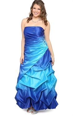 Plus Sizes Ombre Long Prom Dress with Stone Sides and Pick Up Skirt