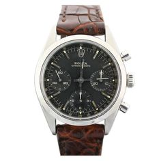 ROLEX Stainless Steel Chronograph with Original Black Dial Ref 6238 circa 1960s  #1stdibs #watch.