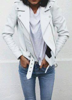 Jacket: perfecto white casual skinny jeans back to school college fall outfits white t-shirt cute