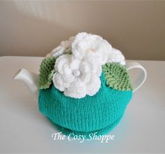 Classic Tea Cozy topped with crochet flowers. Tea Cosies, Tea Cozy, Crochet Flowers, Cosy, Crochet Hats, Ship, Knitting, Trending Outfits, Classic