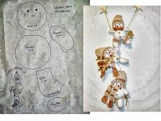 snowmen garland and pattern Christmas Sewing, Christmas Fabric, Christmas Projects, Handmade Christmas, Holiday Crafts, Christmas Crafts, Animal Sewing Patterns, Sewing Patterns For Kids, Stuffed Animal Patterns