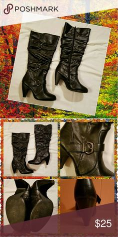 Tall black boots. Excellent condition, only worn once. 3 silver buckles on the side. Full zip. Rubber sole. 3 1/2 inch stacked heel. All man-made materials. 18 inches tall. Fashion Bug Shoes Heeled Boots