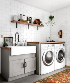 48 Modern Laundry Room Makeover Ideas for Your House 48 Modern Lau. 48 Modern Laundry Room Makeover Ideas for Your House 48 Modern Laundry Room Makeover Laundry Room Remodel, Basement Laundry, Farmhouse Laundry Room, Laundry Room Organization, Laundry Room Design, Laundry In Bathroom, Laundry Room Utility Sink, Basement Bathroom, Laundry Decor