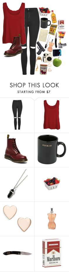 """""""Ruby Hopkins"""" by darlingzombie ❤ liked on Polyvore featuring Topshop, WearAll, Dr. Martens, HUF, Topman, Poppy Finch and Jean-Paul Gaultier"""
