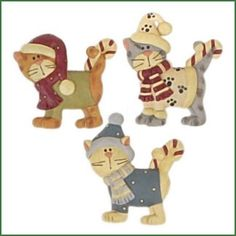 Set of 3 CATS with CANDY CANES Blossom Bucket Figurines - Dezign Zoo Animal Emporium - Animal Figurines, Collectibles and Gifts
