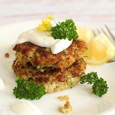Zucchini Quinoa Patties... I wonder of making mushroom sauce instead of yogurt one? Hub's is not a yogurt sauce fan.