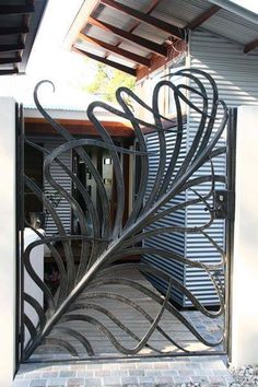 Love this lovely iron gate! Visit our site stonecountyironwo… for more beautif… Love this lovely iron gate! Visit our site stonecountyironwo… for more beautiful wrought iron designs! Iron Front Door, Exterior Front Doors, Iron Doors, Metal Gates, Wrought Iron Gates, Gate Design, Door Design, Door Gate, Iron Art