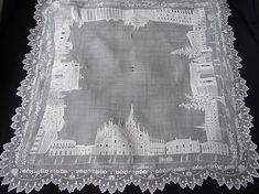 """Magnificent Appenzel """"Grand Tour"""" Hankerchief ~ Maria Niforos - Fine Antique Lace, Linens & Textiles : Antique Lace # LA-207"""