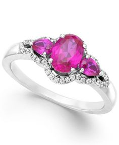 Ruby (1-3/8 ct. t.w.) and Diamond (1/8 ct. t.w.) Three-Stone Ring in 14k White Gold