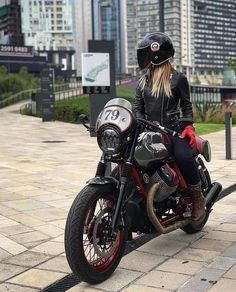 Definitely out here having the time of our life! Bikes shouldn't be only for guys Cafe Racer Style, Cafe Racer Girl, Custom Cafe Racer, Bike Style, Lady Biker, Biker Girl, Moto Guzzi Motorcycles, Gs500, Guzzi V7