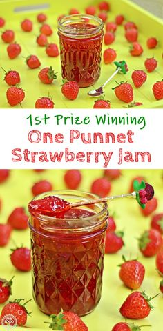Quick One Punnet Strawberry Jam (1st Prize Winning). If you're looking for a homemade strawberry jam recipe with no jam sugar or added pectin that is soft set, quick and delicious, then you've come to the right place. You don't even need any special equipment! #strawberryjam #strawberryjamrecipe #strawberryjamrecipewithoutpectin #strawberryjamrecipeuk #nopectin #nojamsugar #quickstawberryjamrecipe #quickstrawberryjamrecipenopectin #quickeasystrawberryjam #quickandeasystrawberryjam Homemade Strawberry Jam, Strawberry Jam Recipe, Strawberry Desserts, Summer Desserts, Easy Desserts, Summer Food, Jam Recipes, Sweets Recipes, Vegan Recipes Easy