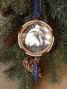 Beautiful American Eagle Snuff Lid Ornament on Etsy, $20.00