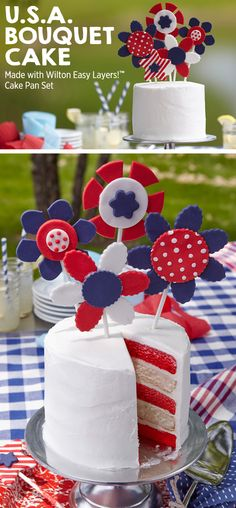 USA Bouquet Cake made with Wilton easy layers cake pan set! // Red, white and blue desserts