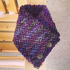 Free knitting pattern for Herringbone Neckwarmer a quick cowl knit in super bulky yarn. Great for multi-color yarn