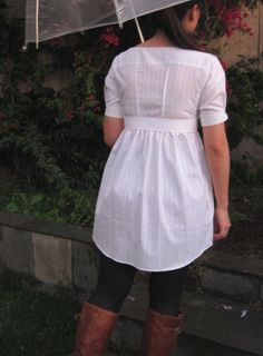 men's dress shirt refashion into dress. general directions included.