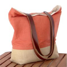 Orange Linen Burlap Tote Bag