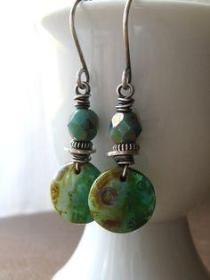 BlueGreen and Turquoise Czech Glass Earrings by valleybeadglassart