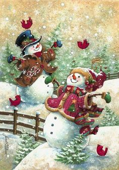 Gotta Love Snow by Janet Stever ~ Christmas ~ winter ~ snowman ~ snowlady ~ cardinals