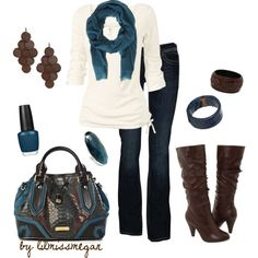 I love love LOVE this entire outfit!!! It is SO CUTE and looks comfy too! <3 I especially love the boots, jeans, and purse. :)