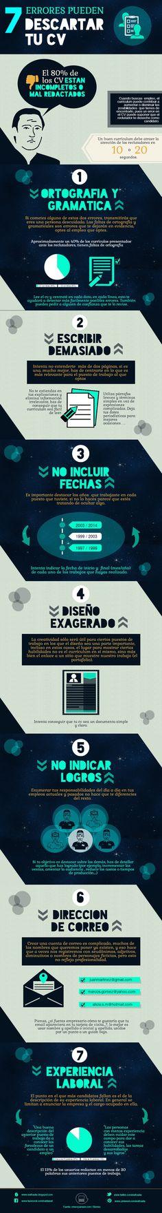 Infografia: 7 errores que pueden hacer que descarten tu currículum. #resume…