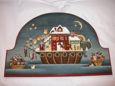 Betty Caithness is the designer and painter of Noah's Christmas Party. Available as a pattern packet at this link: http://www.tolemine.com/proddetail.php?prod=M-31