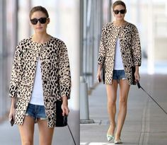 Olivia Palermo in Tibi Cheetah coat and Stuart Weitzman flats.
