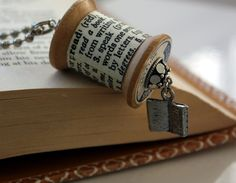 Bookworm Likes to Read Wooden Spool Dictionary Definition Necklace : Made to Order. $35.00, via Etsy.