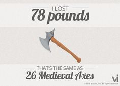 I lost 78 pounds! That is the same as 26 medieval axes. Ilostwhat.com