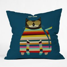 Brian Buckley Cat Cool Throw Pillow | DENY Designs Home Accessories