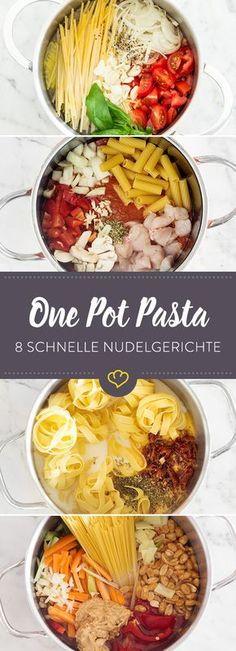 Thai-Style-Spaghetti, cremige Tagliatelle mit getrockneten Tomaten oder würzige Hähnchen-Rigatoni - hier warten 8 schnelle Rezepte auf dich.