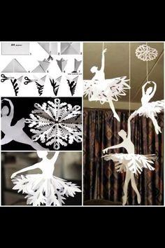 Creative Ideas – DIY Beautiful Snowflake Ballerinas from Templates – Origami How To Make Snowflakes, Paper Snowflakes, Diy Paper, Paper Art, Paper Crafts, Holiday Crafts, Christmas Crafts, Christmas Decorations, Homemade Christmas