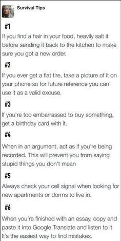 Survival Tips...